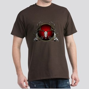 Deer skull with feathers Dark T-Shirt