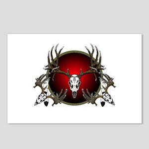 Deer skull with feathers Postcards (Package of 8)