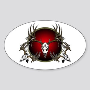 Deer skull with feathers Sticker (Oval)