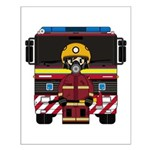 Firefighter and Fire Engine Small Poster