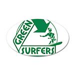 Green Surfers 38.5 x 24.5 Oval Wall Peel