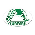 Green Surfers 22x14 Oval Wall Peel