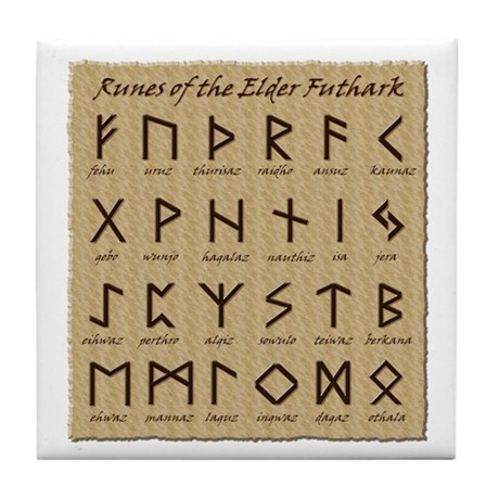 Runes (Parchment) Tile Coaster