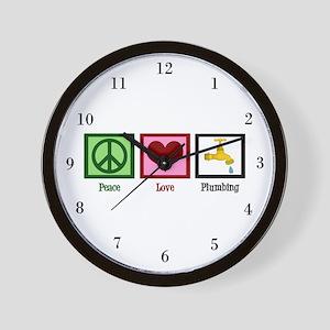 Peace Love Plumbing Wall Clock