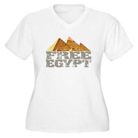 Free Egypt Women's Plus Size V-Neck T-Shirt
