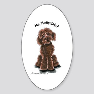 Chocolate Labradoodle Manipulate Sticker (Oval)