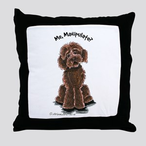 Chocolate Labradoodle Manipulate Throw Pillow