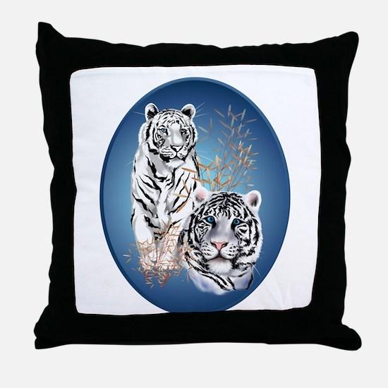 White Tigers Shirts Throw Pillow