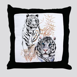 White Tigers Shirts Throw Pillow