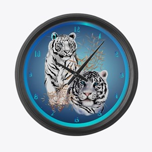 Two White Tigers Large Wall Clock