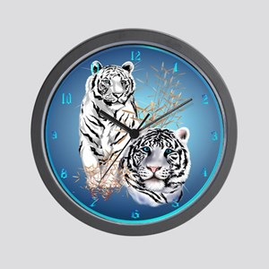Two White Tigers Wall Clock