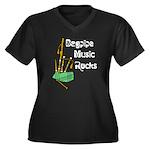 Bagpipe Music Rocks Women's Plus Size V-Neck Dark