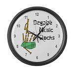 Bagpipe Music Rocks Large Wall Clock