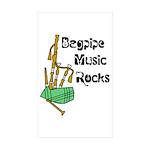 Bagpipe Music Rocks Sticker (Rectangle 50 pk)
