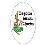 Bagpipe Music Rocks Sticker (Oval 50 pk)