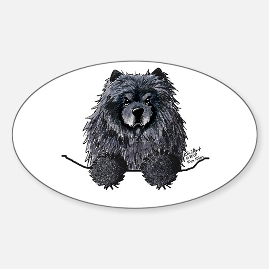 Black Chow Chow Sticker (Oval)