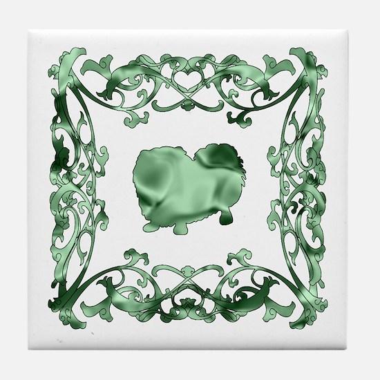 Pekingese Lattice Tile Coaster