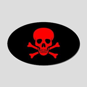 Skull & Crossbones (red) 22x14 Oval Wall Peel