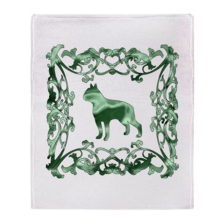 Boston Terrier Lattice Throw Blanket
