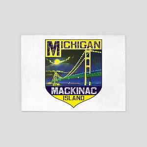 Mackinac Island Michigan Bridge Vin 5'x7'Area Rug