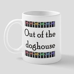 Out of the dog houe with rain Mug