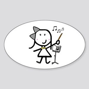 Girl & Conductor Oval Sticker