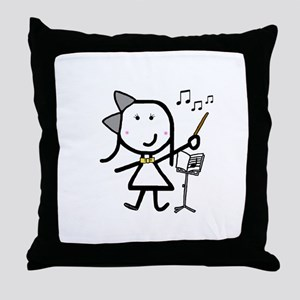 Girl & Conductor Throw Pillow