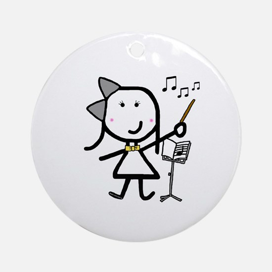 Girl & Conductor Ornament (Round)