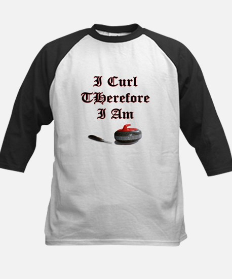 I Curl Therefore I Am Kids Baseball Jersey