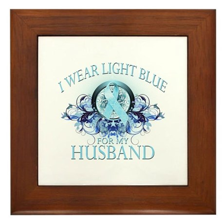 I Wear Light Blue for my Husband (floral) Framed T