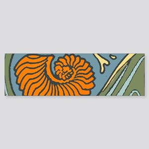 Waves and Seashell Ocean Blue Bumper Sticker