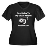 Little Friend - Women's Plus Size V-Neck Dark T-Sh