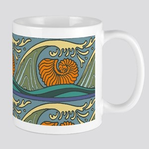 Blue Waves Seashell Pattern Mugs