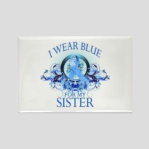 I Wear Blue for my Sister (floral) Rectangle Magne