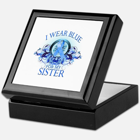 I Wear Blue for my Sister (floral) Keepsake Box