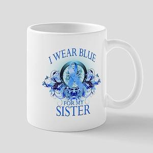 I Wear Blue for my Sister (floral) Mug