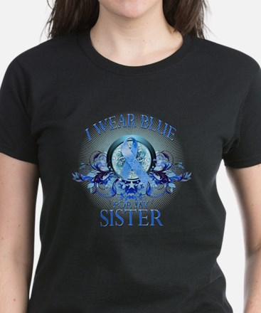 I Wear Blue for my Sister (floral) Women's Dark T-