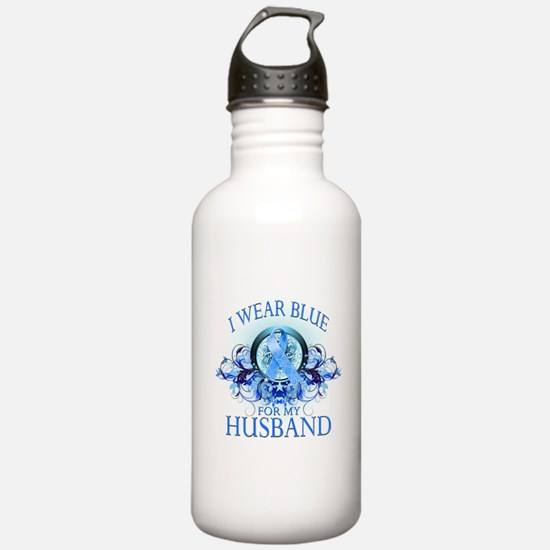 I Wear Blue for my Husband (floral) Water Bottle