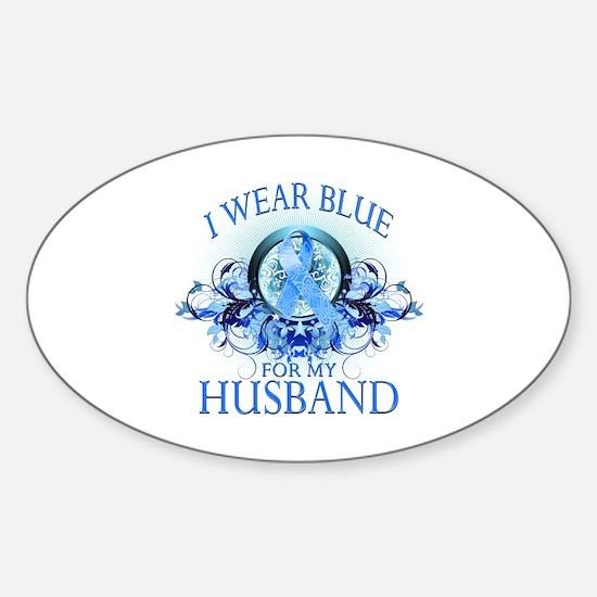 I Wear Blue for my Husband (floral) Sticker (Oval)