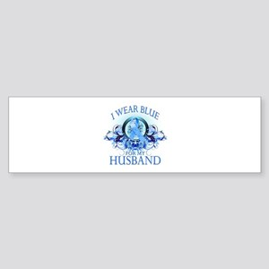 I Wear Blue for my Husband (floral) Sticker (Bumpe