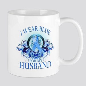 I Wear Blue for my Husband (floral) Mug