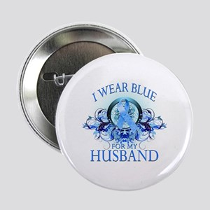 "I Wear Blue for my Husband (floral) 2.25"" Button"