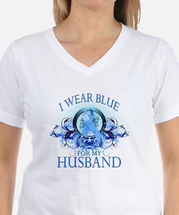 I Wear Blue for my Husband (floral) Shirt