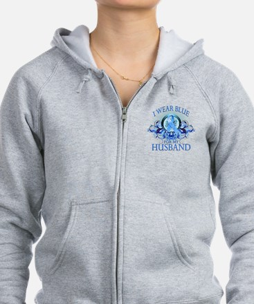 I Wear Blue for my Husband (floral) Zip Hoodie