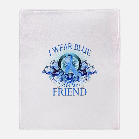 I Wear Blue for my Friend (floral) Throw Blanket