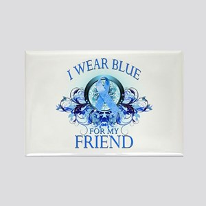 I Wear Blue for my Friend (floral) Rectangle Magne