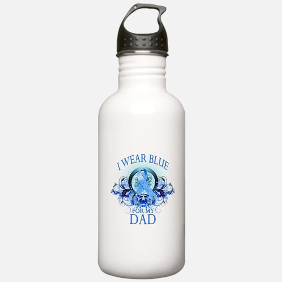 I Wear Blue for my Dad (floral) Water Bottle