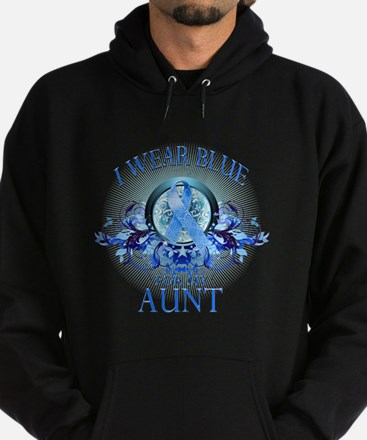 I Wear Blue for my Aunt (floral) Hoodie (dark)