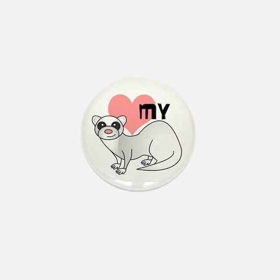 Love My Silver Ferret Mini Button