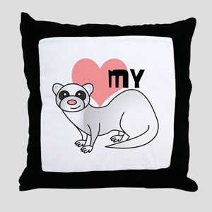 Love My Silver Ferret Throw Pillow